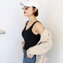 韩都衣舍2018夏装新款女装韩版V领纯色打底无袖针织衫JQ01235樰