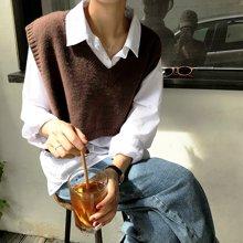 搭歌 秋韩版新款V领无袖针织背心女装宽松套头毛衣马甲 ZS7674
