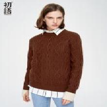 初语冬天毛衣女2018秋装新款时尚修身长袖撞色袖口粗棒针织衫8830423008