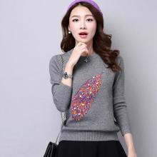 百依恋歌 韩版修身长袖针织衫女显瘦圆领毛衣 hh021