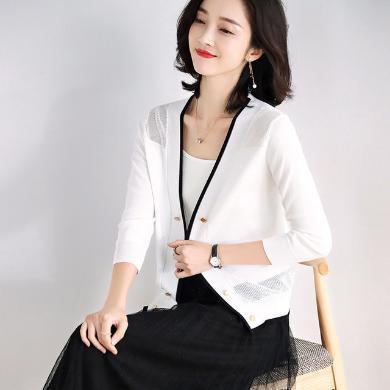 NewmanCity2019年夏季新款時尚撞色拼接針織衫 知性優雅開衫女ZHENZ14