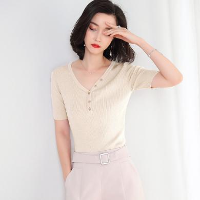 NewmanCity針織T恤女2019夏季韓版女裝純色心機短袖針織衫ZHENZ2