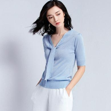 NewmanCity2019夏季新款蝴蝶結飄帶天絲短袖針織衫女薄款t恤上衣ZHENZ1