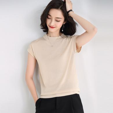 NewmanCity小立領薄款針織衫短袖女純色t恤2019夏季新款女裝天絲打底衫ZHENZ11