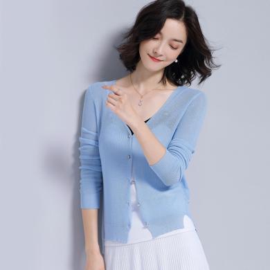 NewmanCity夏季新款冰絲針織衫女防曬開衫ins短款外搭長袖空調衫外套小披肩ZHENZ6