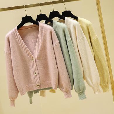 meyou 很仙的毛衣外套女秋冬季新款時尚燈籠袖寬松顯瘦短款針織開衫
