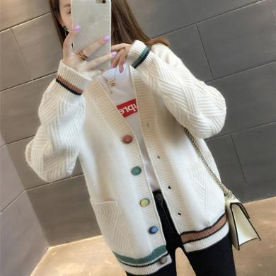 百依?#36424;?新款学生韩版口袋毛衣外套女宽松V领长袖外搭针织开衫 4160