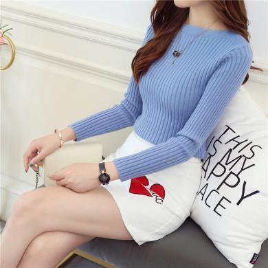 百依恋歌 秋冬新款韩版一字领修身显瘦短款针织打底衫 XMY8634