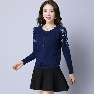 百依?#36424;?新款韩版女装圆领针织开衫女士短款毛衣小外套外搭披肩 813
