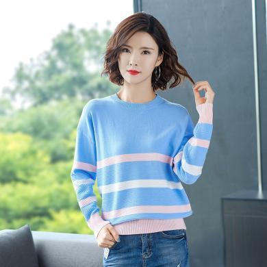 酷比兔 秋裝針織衫長袖T恤2019冬新款彩色條紋毛衣女上衣   91312