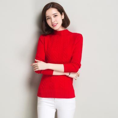 百依戀歌 秋冬新款半高領內搭修身毛衣女長袖多碼純色保暖厚打底衫 9072