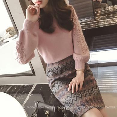 CAVS套裝洋氣時尚2019秋冬新款女針織衫毛呢連衣裙毛呢兩件套氣質HD8055