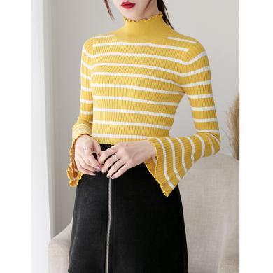 meyou 秋季穿搭新款修身彈力針織衫喇叭袖長袖毛衣半高領條紋毛衣女