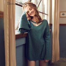 BANANA BABY新款开叉喇叭袖毛衣女长袖秋冬韩版针织衫中长款D73M039