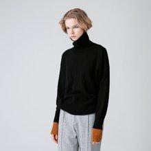 初语 2018秋冬新款 文艺长袖百搭套头宽松毛衣女高领针织衫上衣8730323012