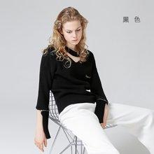 初语2018春装新款 V领刺绣薄毛衣女长袖套头粗毛线针织衫上衣8730423006