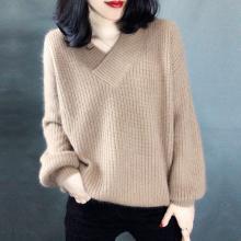 亿族 V领毛衣女秋冬装新款宽松慵懒短款粗毛线套头显瘦外穿毛衫女