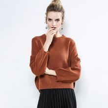 绮娑 秋冬装新款毛衣欧美女装圆领套头衫打底衫宽松长袖针织衫