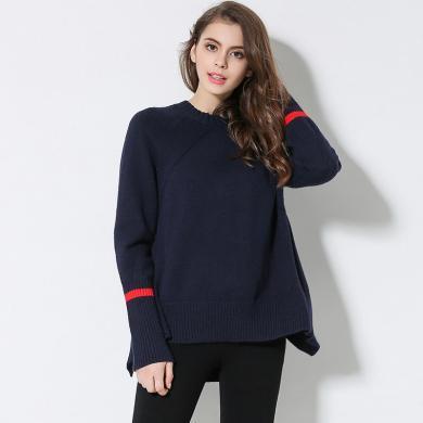 亿族 冬季新款大码女装拼色长袖套头毛衣女百搭宽松加厚打底毛衣