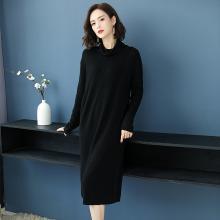 百依恋歌 秋季新品套头显瘦羊毛打底复古风宽松连衣裙 JH1008