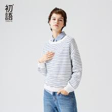 初语秋新款长袖套头条纹ulzzang毛衣女宽松毛针织衫8730423016