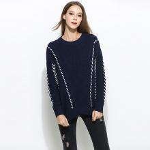 亿族 羊毛衫女秋冬装新款手工邦带蝙蝠厚实羊毛毛衣女胖MM显瘦打底衫