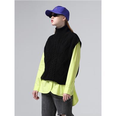 初语高领毛衣女秋季新款休闲短款宽松套头粗棒针无袖针织衫8930323021