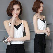 亿族 2018夏季新款韩版v领拼接吊带背心女雪纺衫打底衫