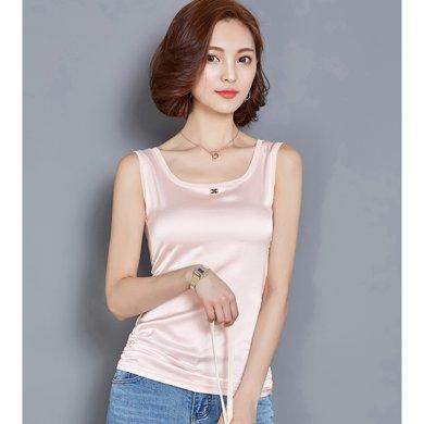 亿族 夏季新款纯色无袖T恤弹力修身吊带背心打底衫