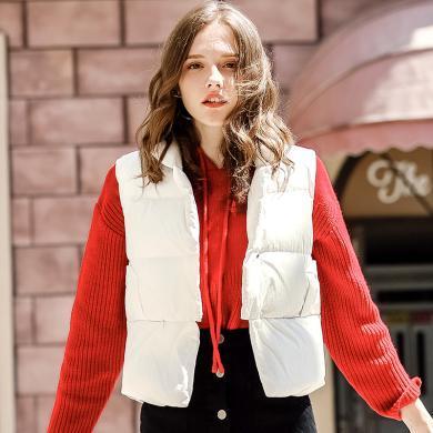 刊菲 冬季新款女裝短款羽絨棉馬甲百搭棉服外套女棉衣背心 93078
