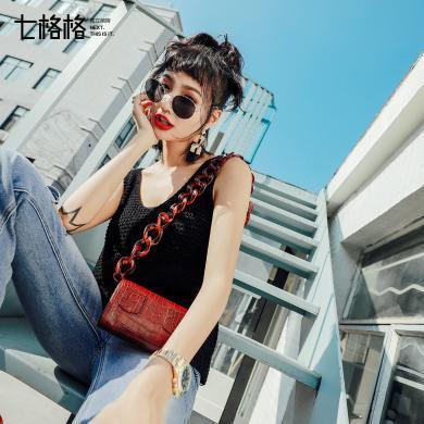 新品 七格格 外搭吊带背心2018春装新款chic韩版宽松百搭黑色亮丝女式外穿上衣