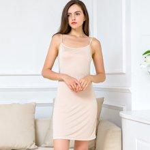 亿族 夏季新款时尚纯色可调节肩带桑蚕丝针织打底裙长睡裙衬裙