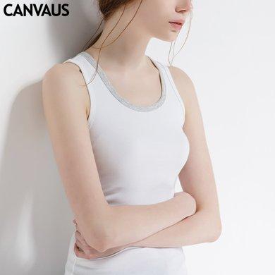 CANVAUS夏新款运动打底棉拼色时尚动感吊带小背心工字背女V118A