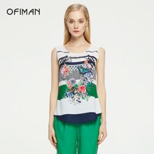 Ofiman奥菲曼夏季新品绿色小A型印花通勤打底背带背心吊带衫女装D1-S6271-8F