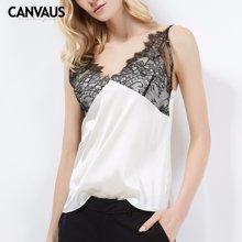 CANVAUS纯色修身打底小吊带性感蕾丝背心女上衣CS8010D