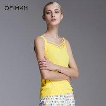 Ofiman奥菲曼女装夏季新品烫钻无袖时尚通勤吊带小背心打底衫休闲D2-S5128-4D
