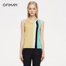 Ofiman奥菲曼女装夏季新款拼色竖条纹无袖混纺针织背心套头衫上衣D2-S5077-2D
