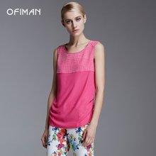 Ofiman奥菲曼新款女装铆钉小波点玫红色无袖雪纺背心薄打底衫修身D1-S5265-4E