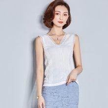 亿族 夏季新款时尚百搭修身显瘦V领蕾丝背心女打底衫