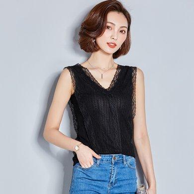 億族 夏季新款時尚百搭修身顯瘦V領蕾絲背心女打底衫