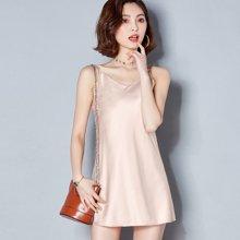 亿族 夏季新款纯色性感百搭吊带连衣裙中长款打底衫