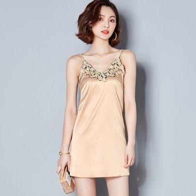 綺娑 夏季新款性感蕾絲繡花V領中長款吊帶打底衫裙