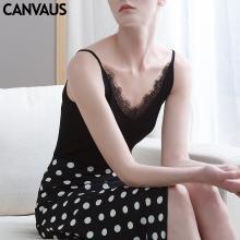 CANVAUS女装蕾丝拼接性感吊带衫针织背心女纯色打底衫VS28A