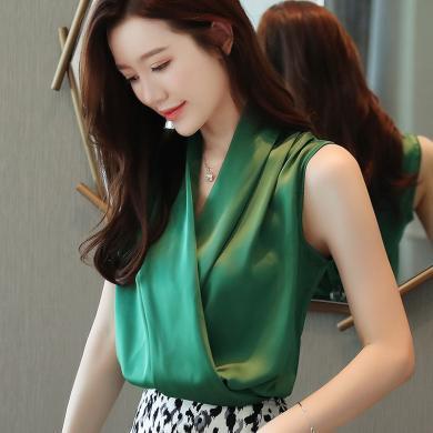 妙芙琳 夏季女裝新款韓版時尚V領無袖緞面襯衫百搭背心上衣