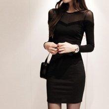 清倉新款女裝韓國代購網紗蕾絲透視性感打底連衣裙0902