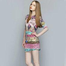彥筠歐美女裝夏季新款印花修身顯瘦大碼時尚不規則連衣裙1030