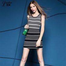 洛樊早春新款韩版包臀背心裙显瘦黑白条纹修身打底针织连衣裙PL676518