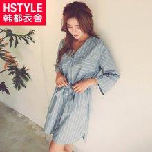 韩都衣舍2018新款女装春装韩版系带长袖V领条纹连衣裙JM6604蒖