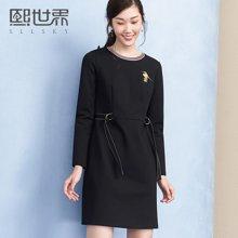 熙世界韩版中长款长袖连衣裙女新款裙子贴布绣104SL220