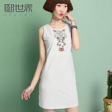 熙世界無袖背心裙女2018夏裝新款白色韓版刺繡短裙連衣裙102SL316